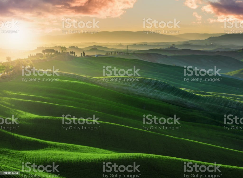 Warm and sunny days in the Crete Senesi, Tuscan landscape stock photo