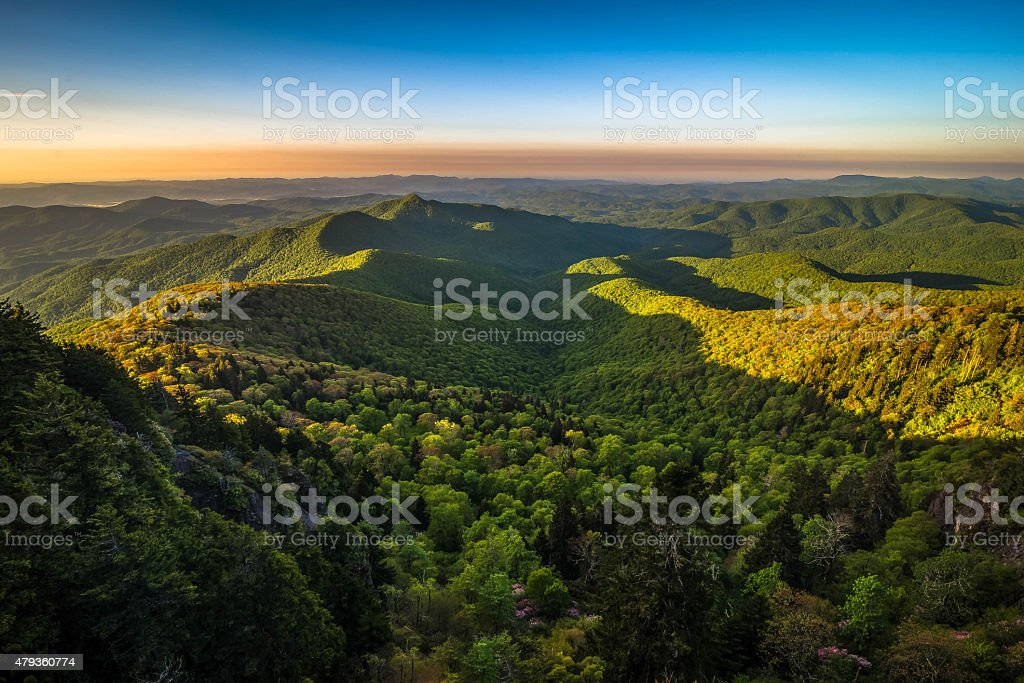 Warm Blue Ridge Mountain Sunrise 3 stock photo