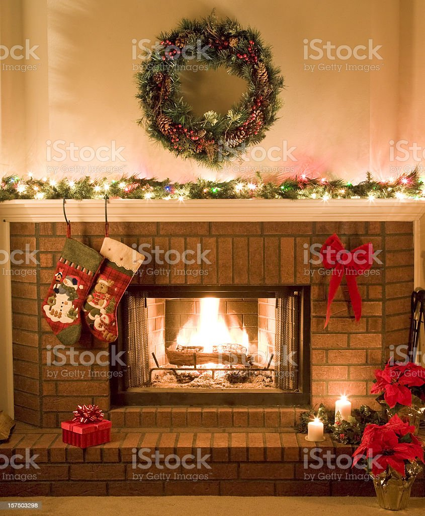 warm, cheery, Christmas fireplace stock photo