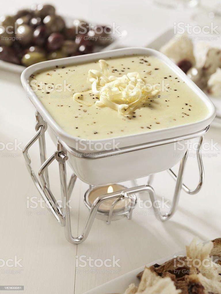 Warm Cheese Fondue stock photo