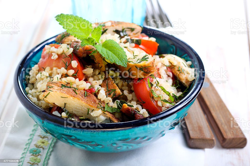Warm chicken tabbouleh stock photo