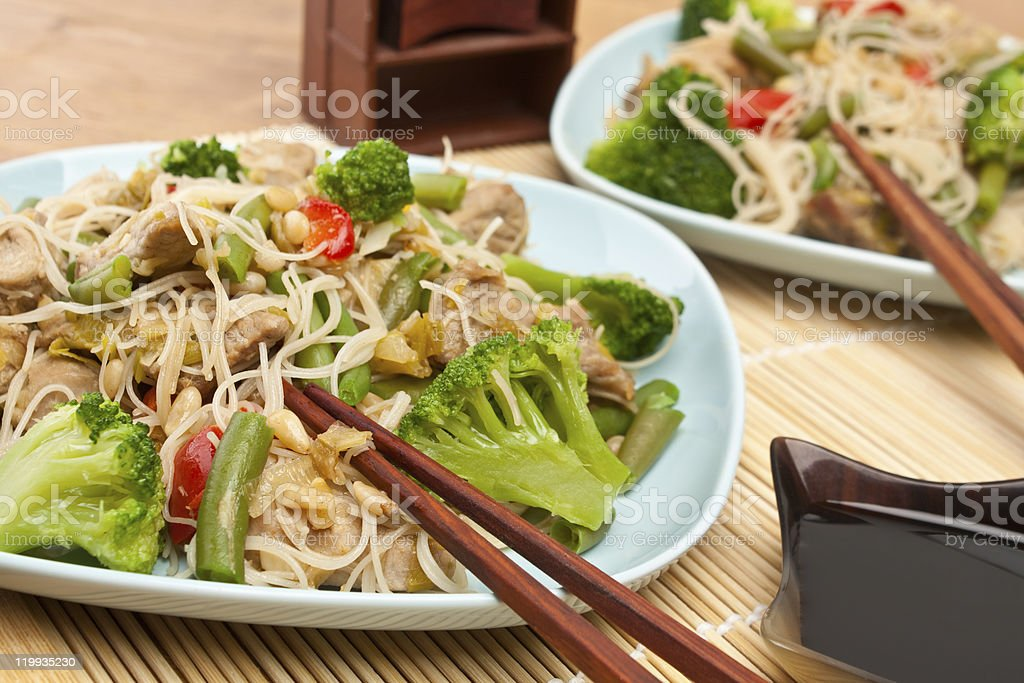 Warm chinese salad with cellophane noodles royalty-free stock photo