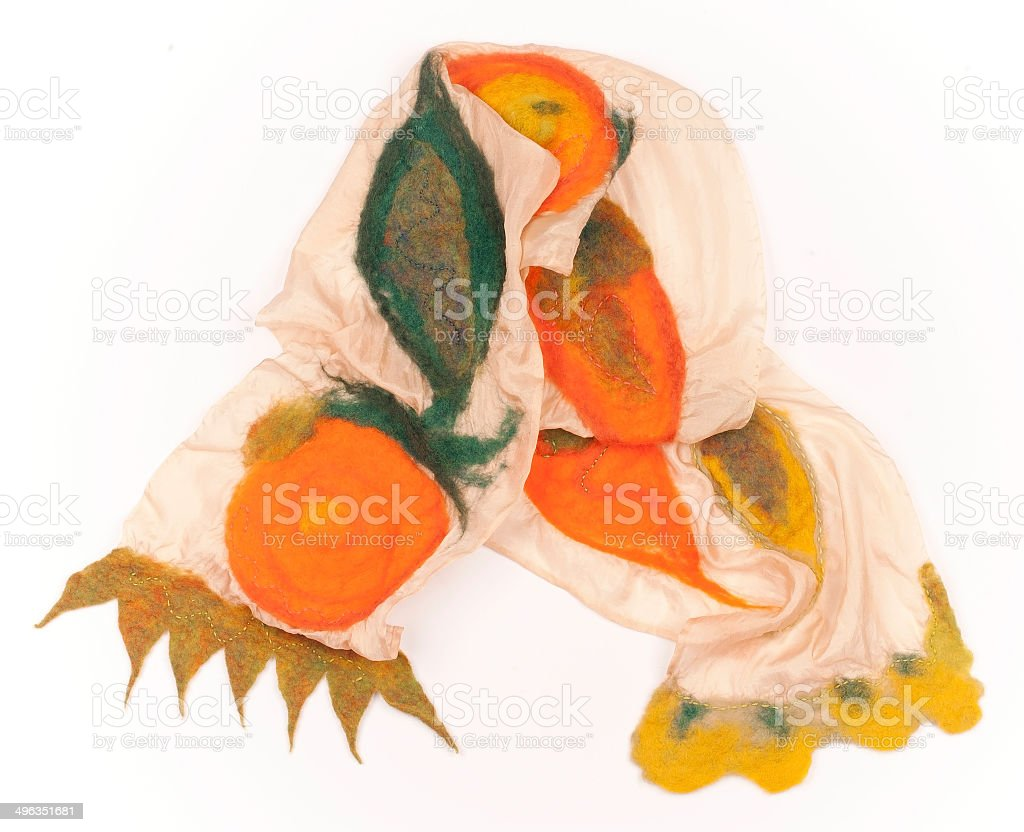 Warm Colored Silk Scarf with Felted Merino Wool Pattern stock photo