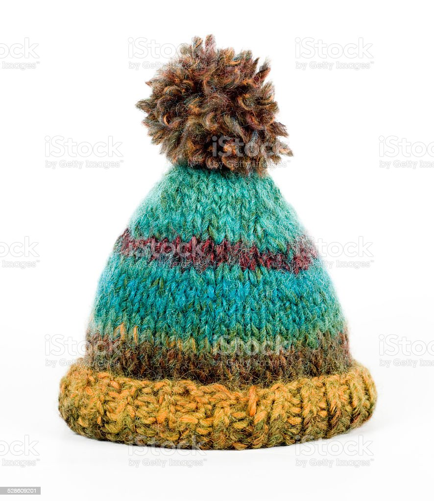 Warm colorful knitted hat stock photo