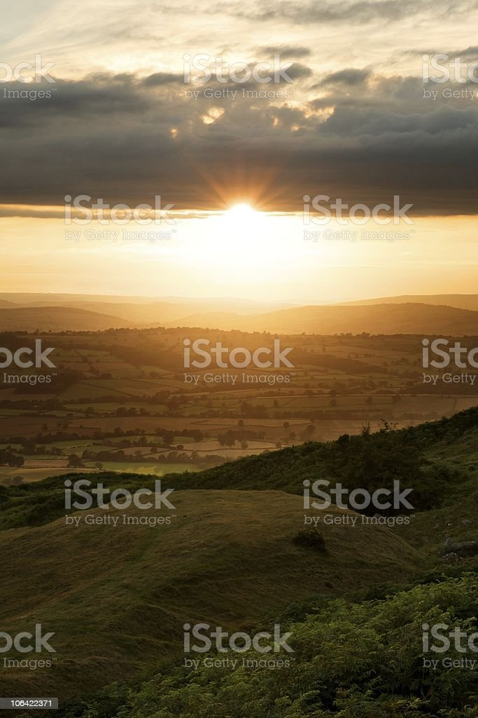 Warm, countryside sunset stock photo