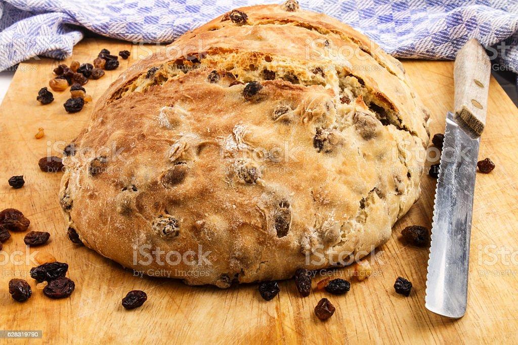 warm, fresh home baked raisin bread stock photo