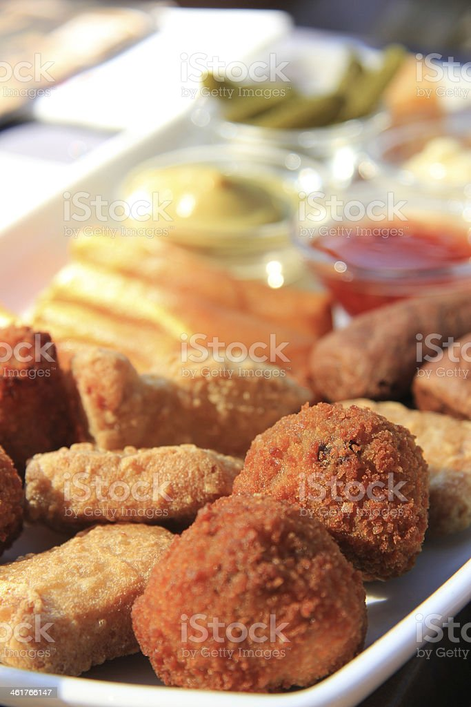 Warm fried snacks stock photo