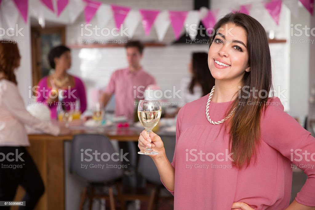 Warm friendly woman bright cheerful happy brunch gathering celebration group stock photo