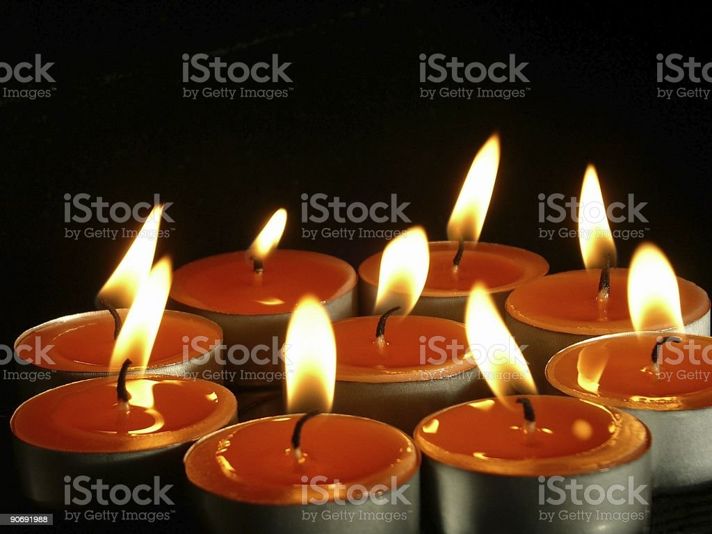 Warm Glow Of Tealights royalty-free stock photo