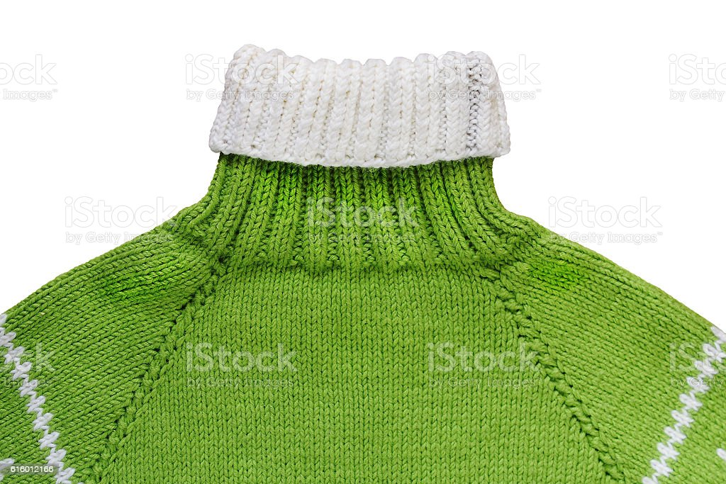Warm green woolen knitted sweater - isolated object, clothing stock photo