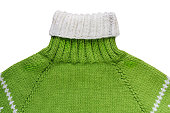 Warm green woolen knitted sweater - isolated object, clothing