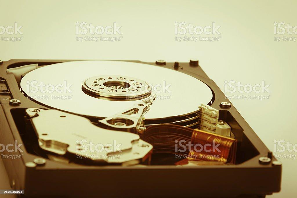 warm hard disk shot stock photo