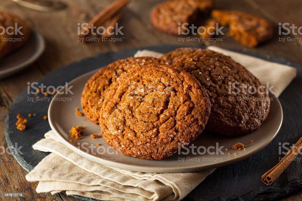 Warm Homemade Gingersnap Cookies stock photo