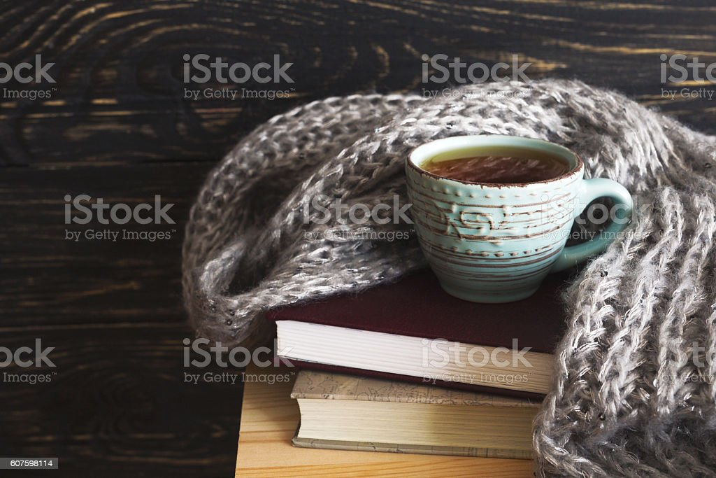 Warm knitted plaid, cup of tea and books stock photo