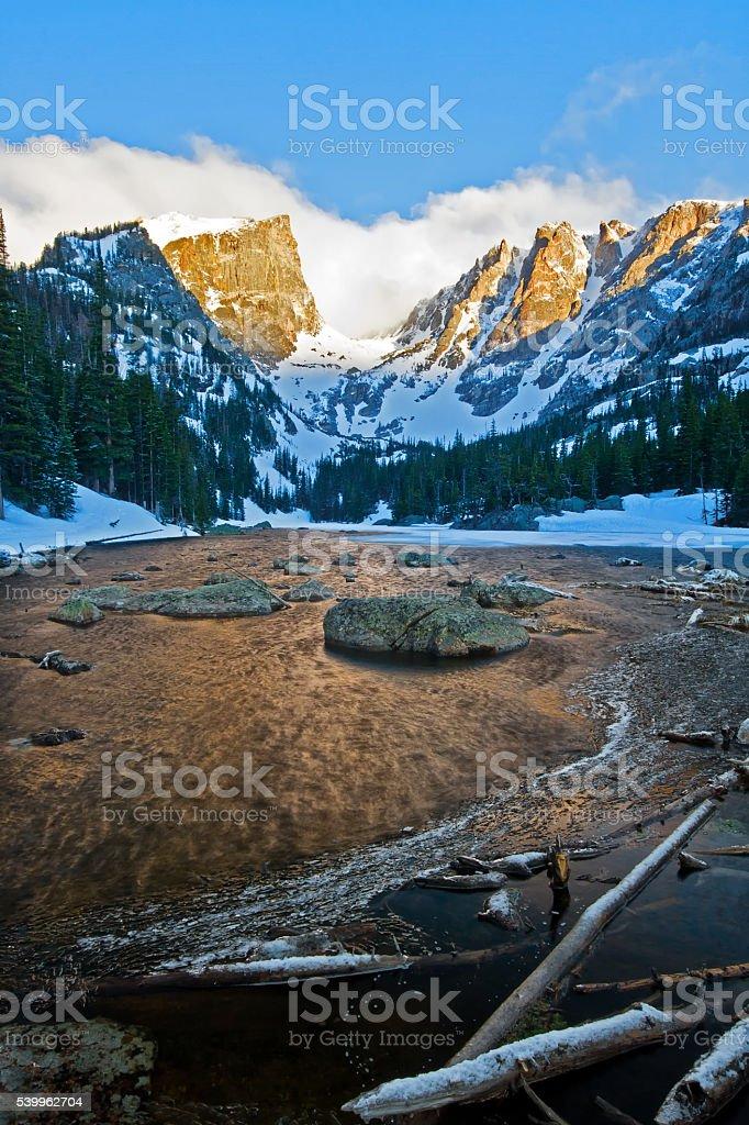 Warm Light on Hallett Peak in Rocky Mountain National Park stock photo