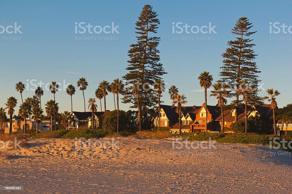 Warm light on San Diego's Coronado Island's homes (P) stock photo