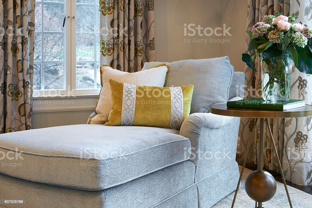 Warm relaxing interior architectural scene stock photo