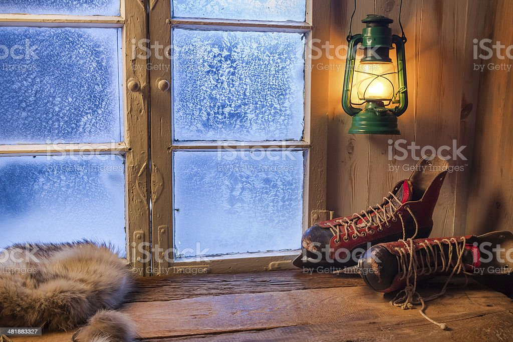 Warm shelter in winter frosty day stock photo