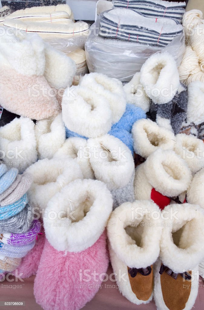 Warm slippers. stock photo