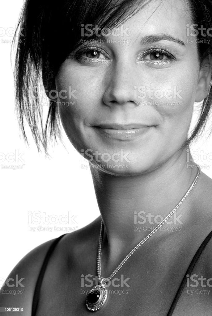 Warm Smile (B&W) royalty-free stock photo