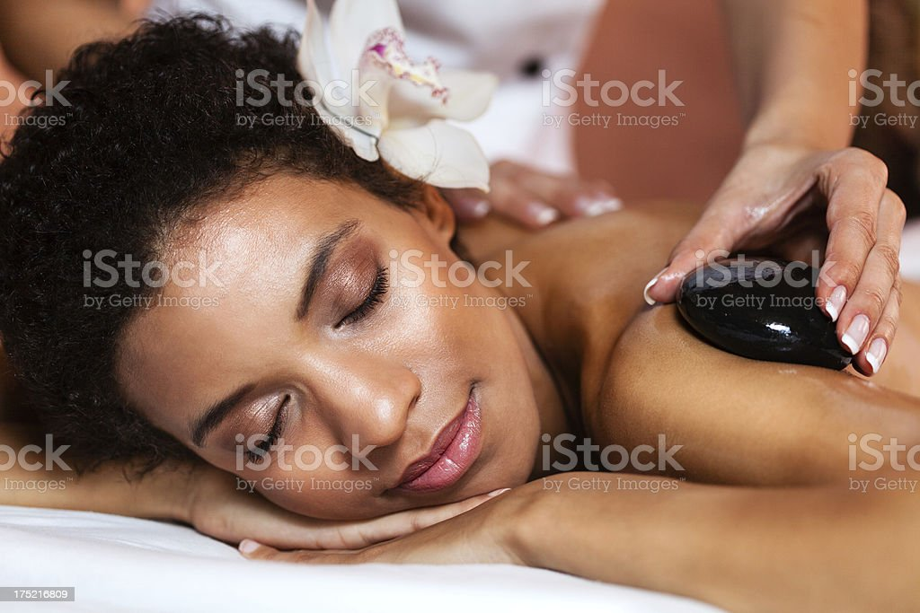 Warm stones massage royalty-free stock photo