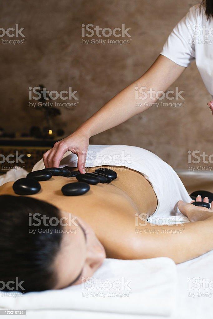 Warm stones massage royalty-free stock photo