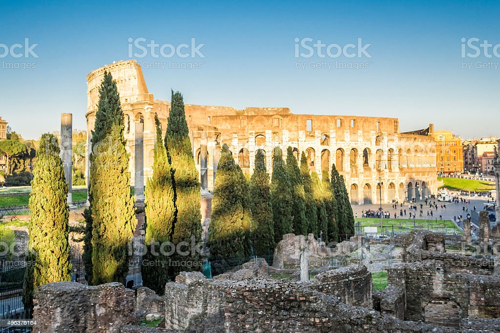 Warm sunlight at the Colosseum stock photo