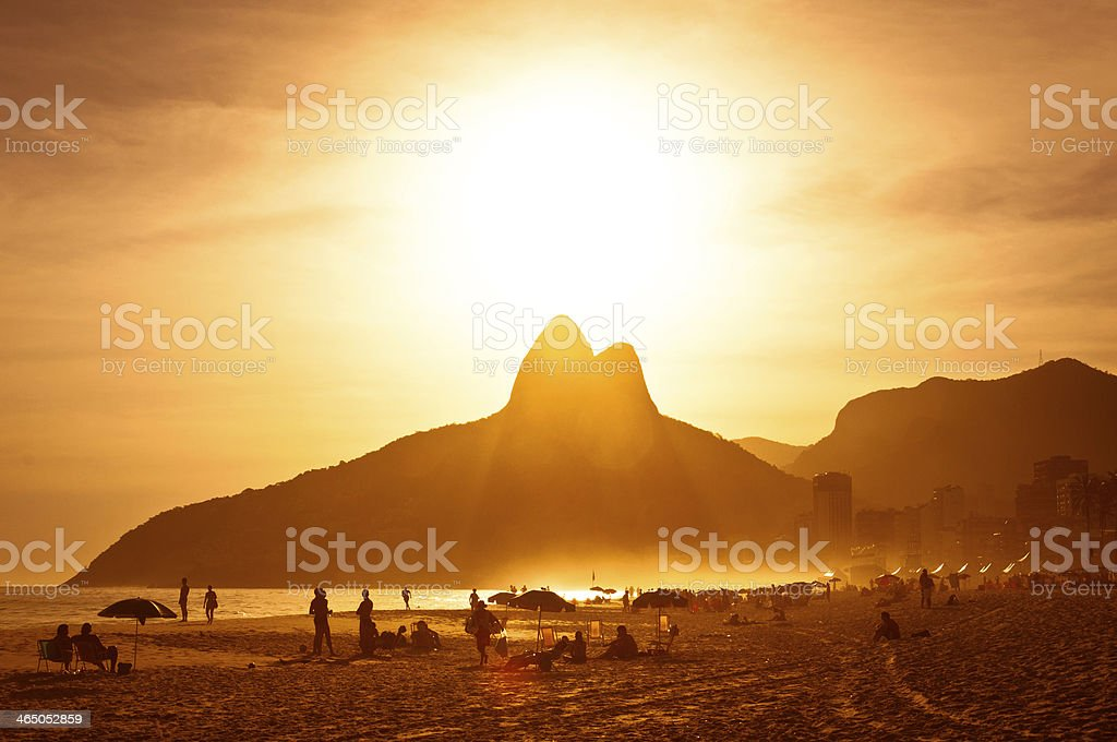 Warm Sunset on Ipanema Beach stock photo