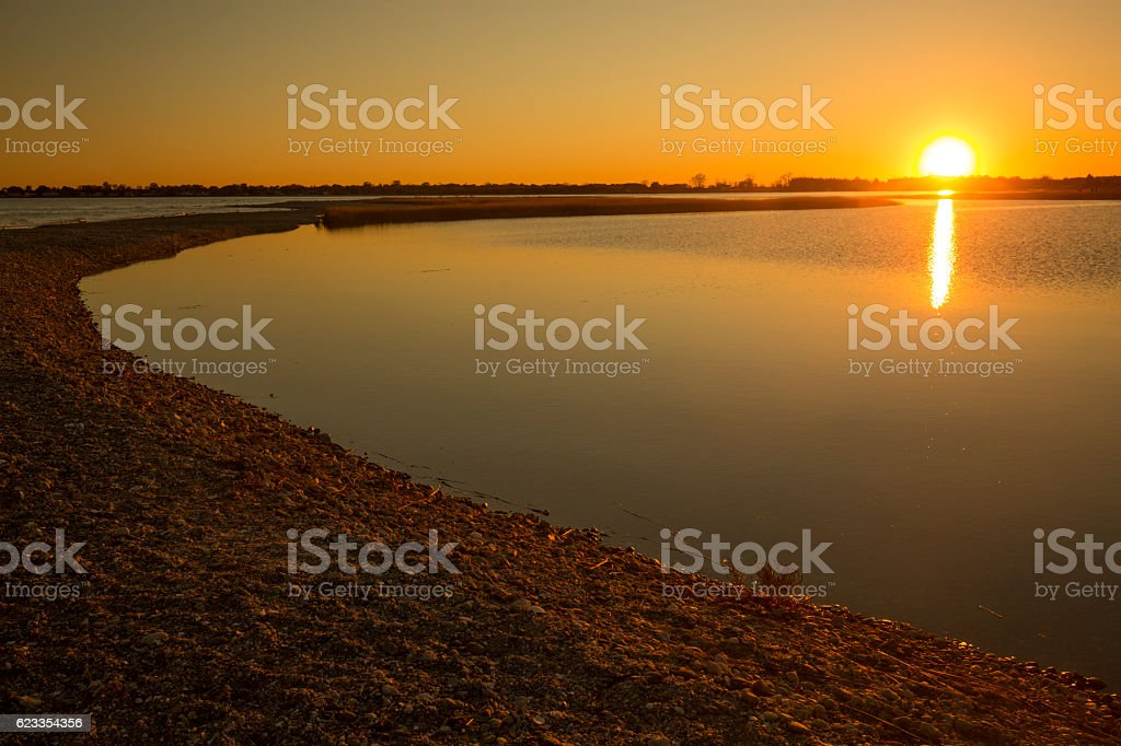Warm sunset over the marsh at Milford Point, Connecticut. stock photo