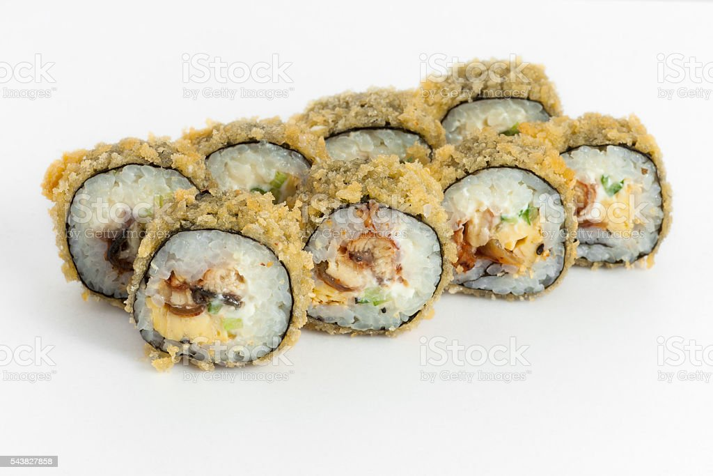 Warm sushi rolls with eel on a white backfround stock photo