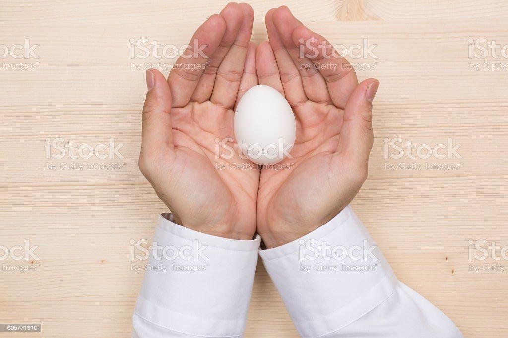 Warm the eggs stock photo