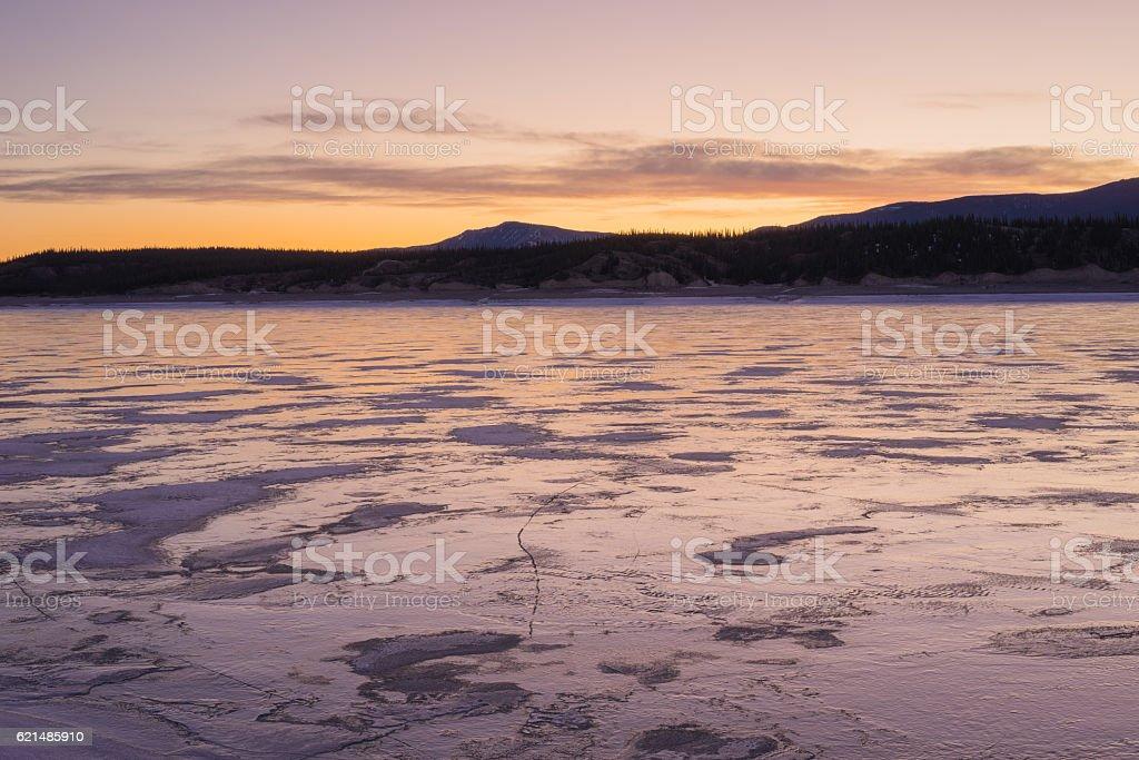 Warm  Tones of Icy Abraham Lake stock photo