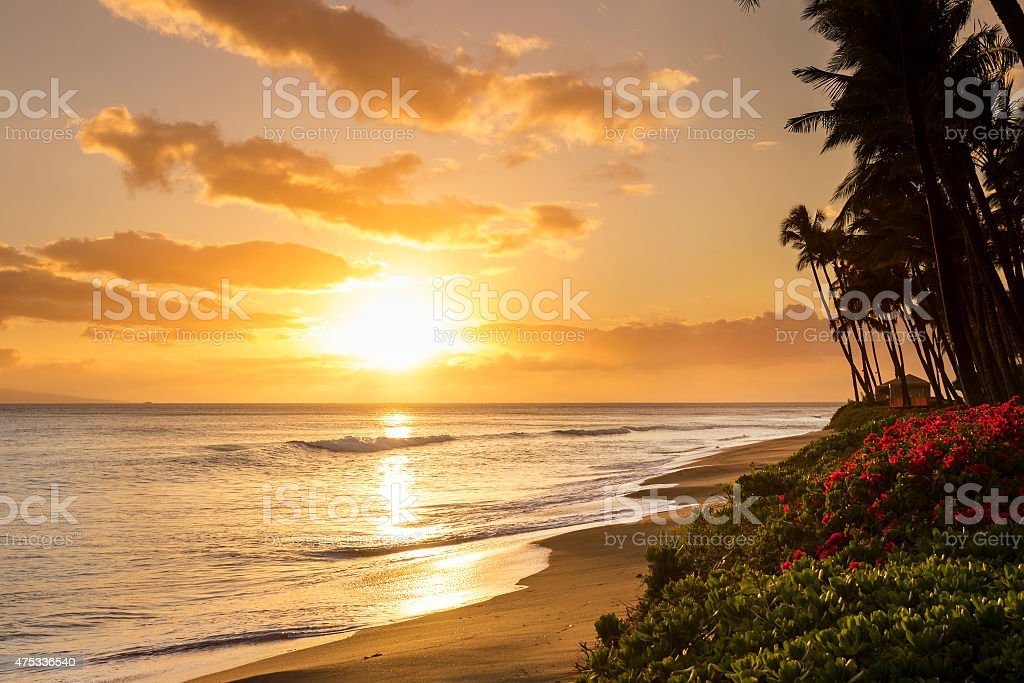 Warm tropical sunset on Kaanapali Beach in Maui Hawaii stock photo