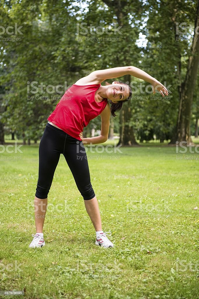 Warm up exercise - sport woman royalty-free stock photo