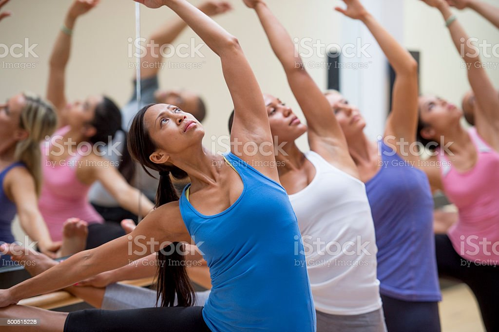Warm Up for Adult Dance Class stock photo
