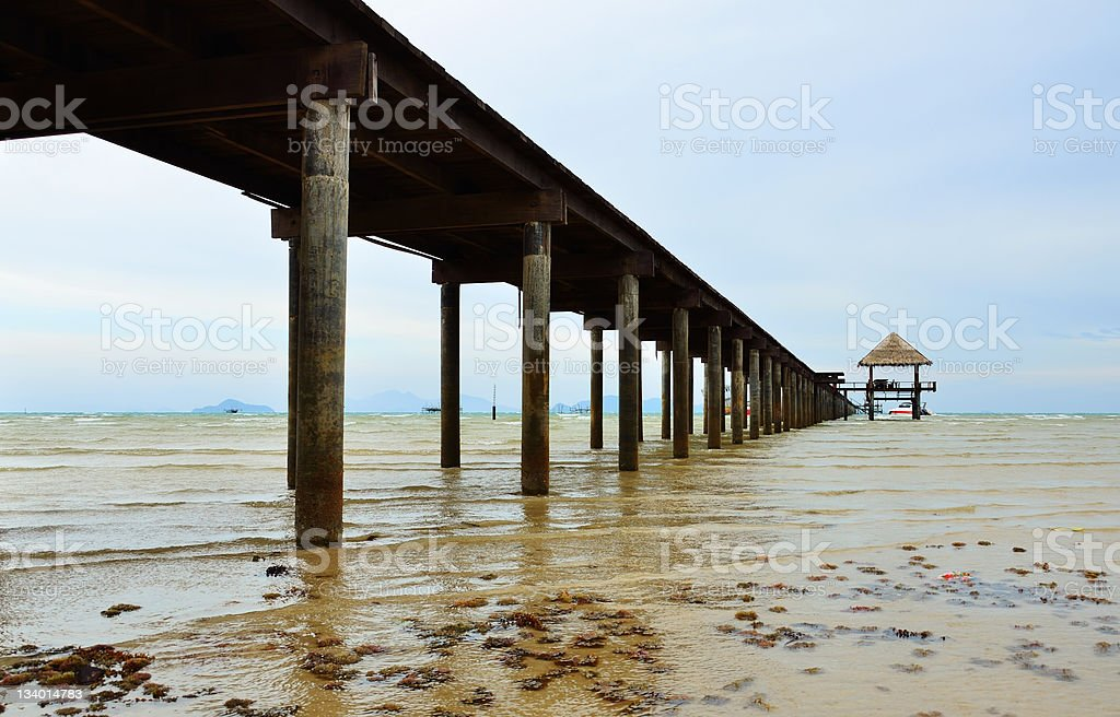 warm view of the wooden jetty royalty-free stock photo