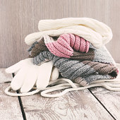 Warm winter knitted clothes - hat, scarf, gloves