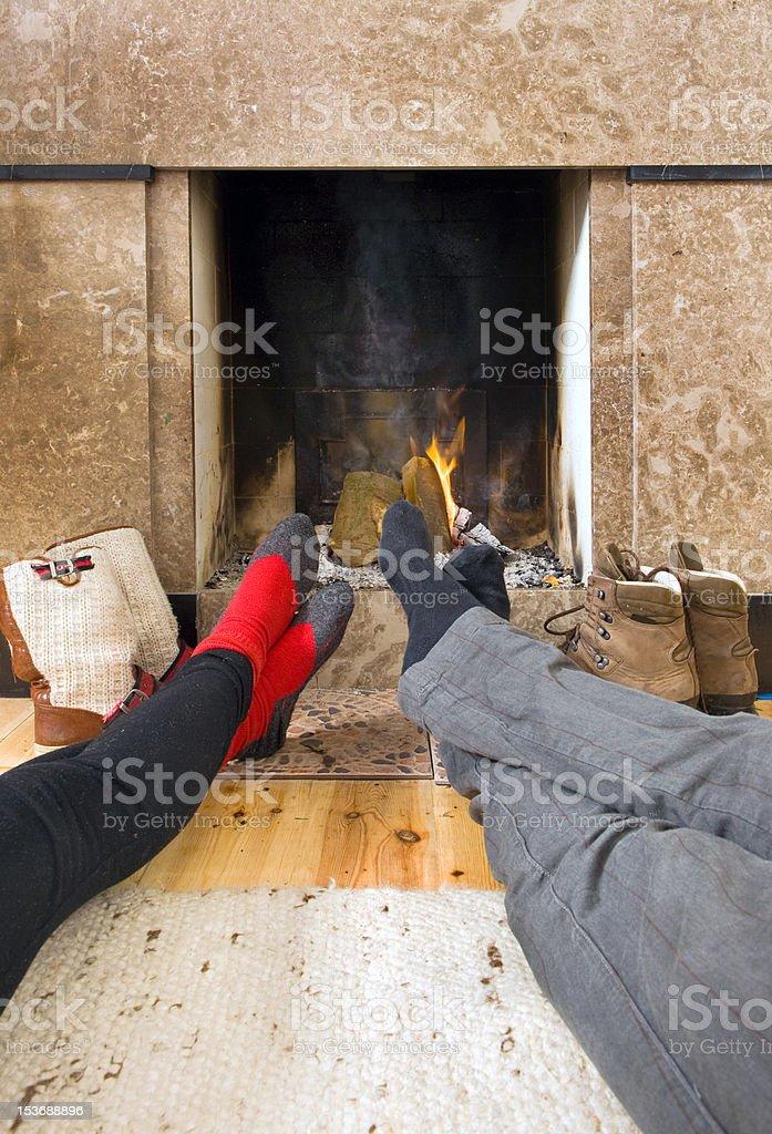 Warming feet stock photo