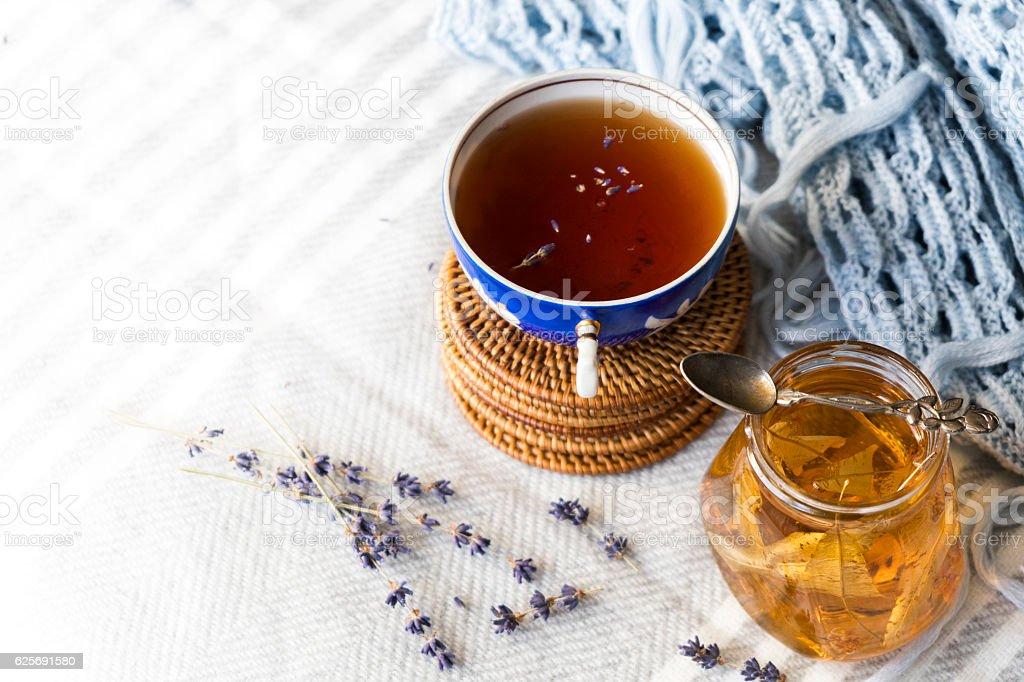 warming tea with jam stock photo