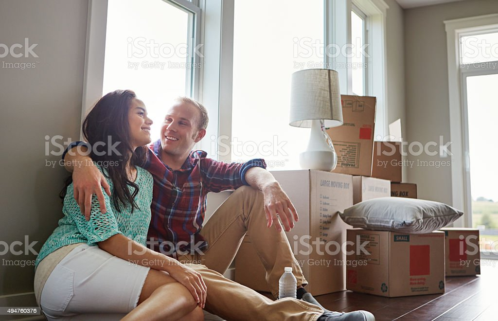 Warming the house with their love stock photo