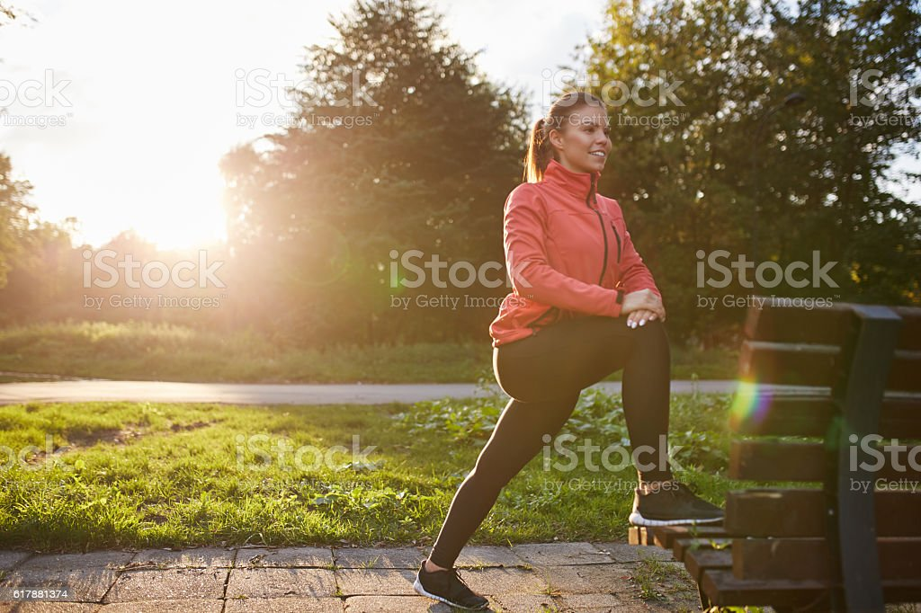 Warming up before jogging stock photo