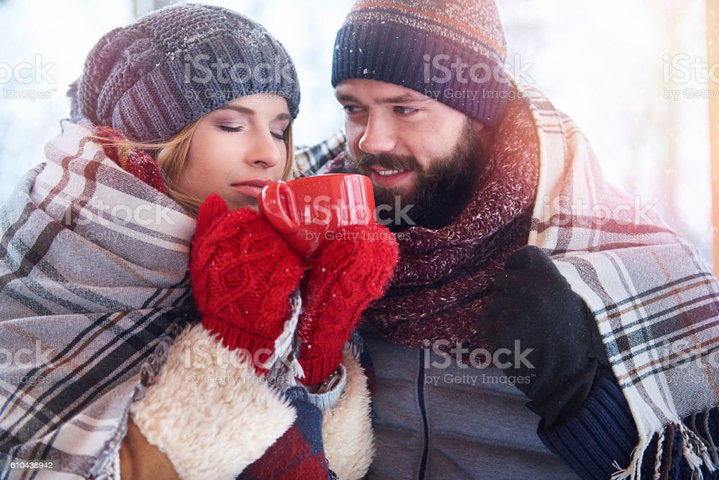 Warming up coffee and blanket stock photo