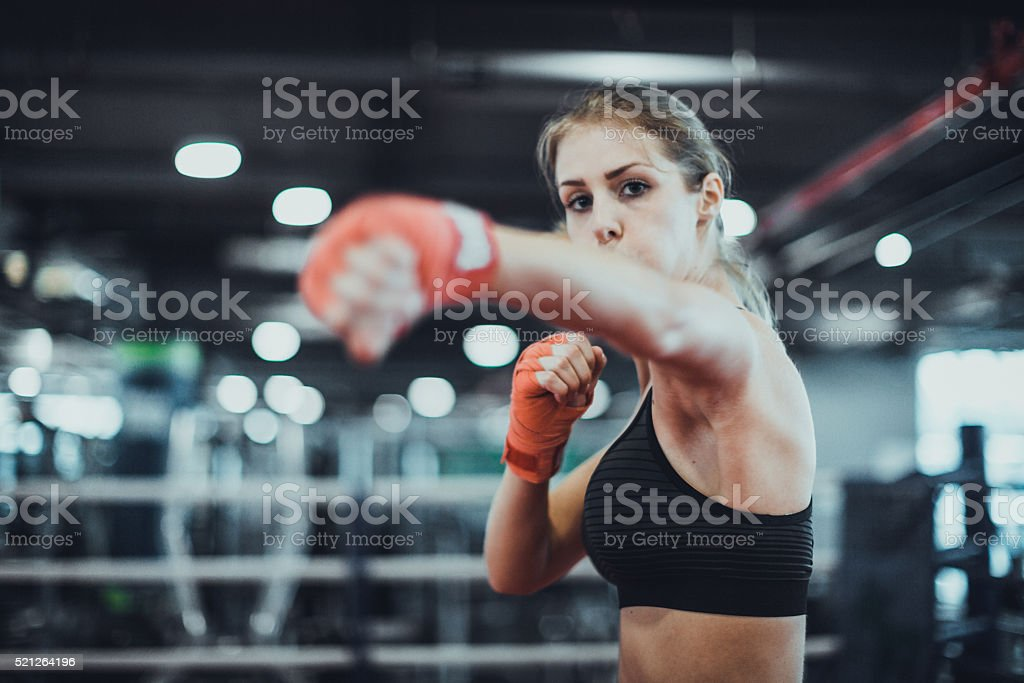 Warming up for a boxing match stock photo