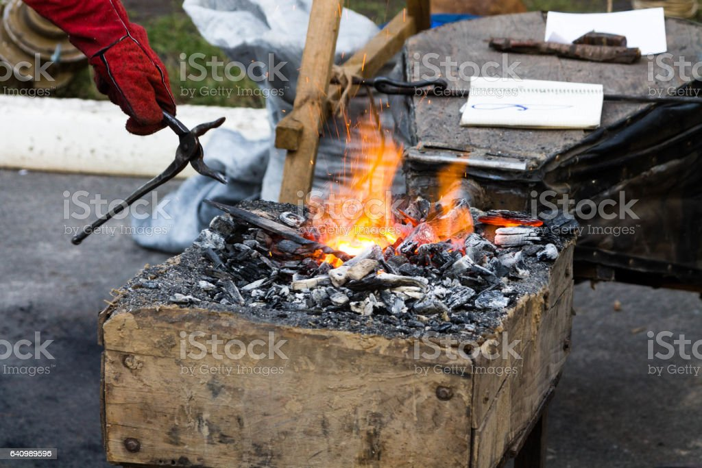 Warming up for forging iron. stock photo