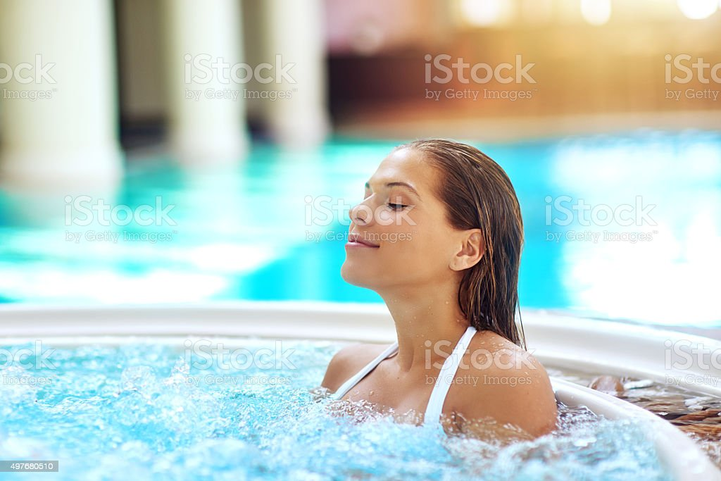 Warming up the hot tub! stock photo