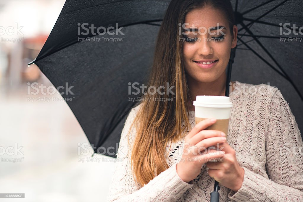 Warming Up With a Cup of Coffee stock photo