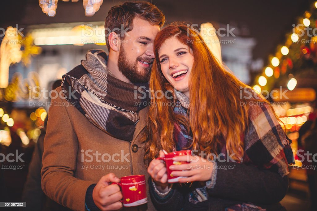 Warming up with mulled wine stock photo