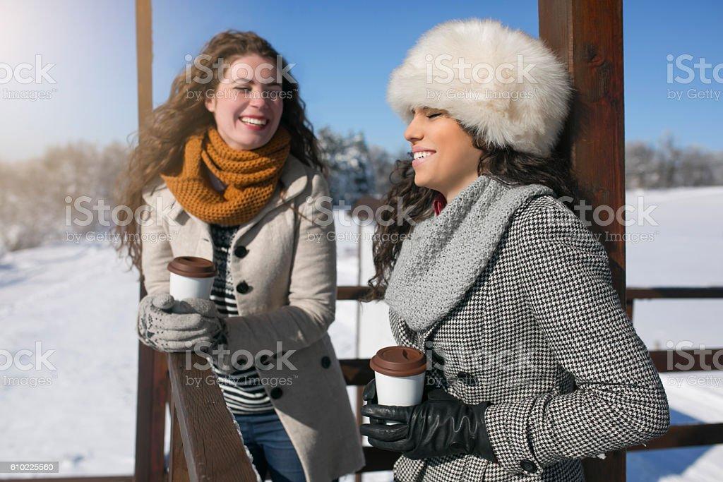 Warming with coffee and fun stock photo