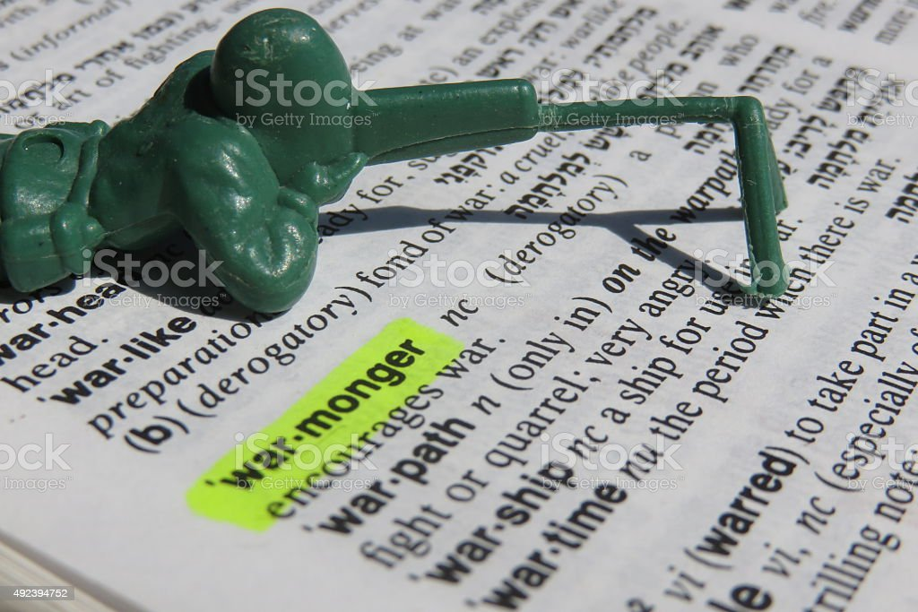 Warmonger - dictionary definition stock photo