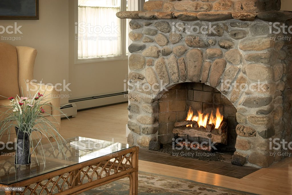Warmth of the fireplace royalty-free stock photo